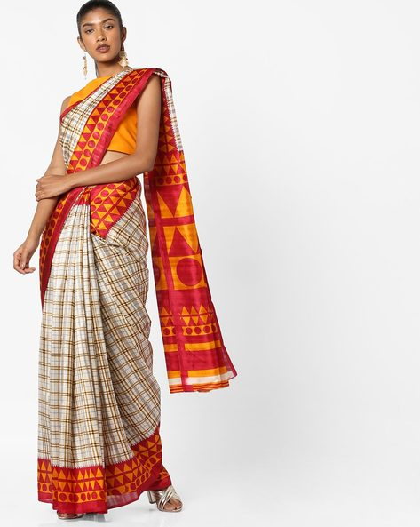 Geometric Print Saree With Blouse By Florence ( Beige )