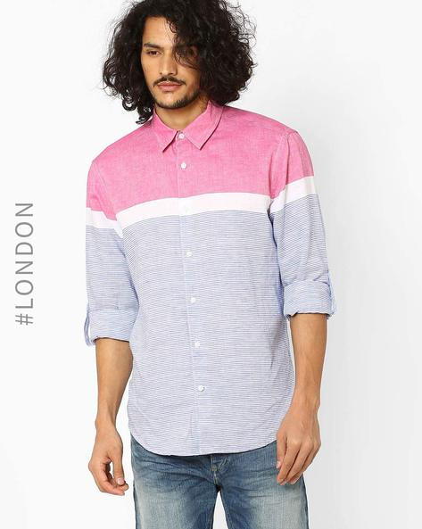 Easy-To-Iron Striped Shirt By Marks & Spencer ( Pink )
