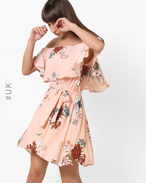 Off-Shoulder Floral Print Dress By OEUVRE ( Pink )