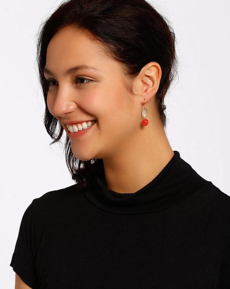 Gold-Plated Dangler Earrings By Shabnam Gitanjali ( Red ) - 460012310001