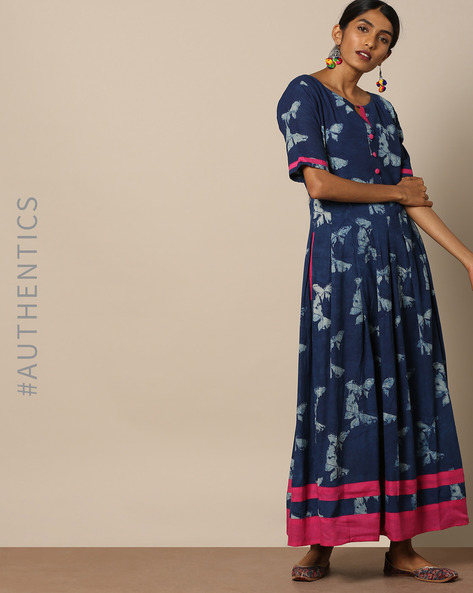Handblock Print Cotton Maxi Dress By Miar Designs ( Blue )