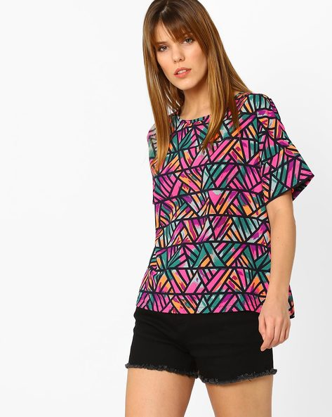 Printed Top With Drop Shoulder Sleeves By Vero Moda ( Purple )