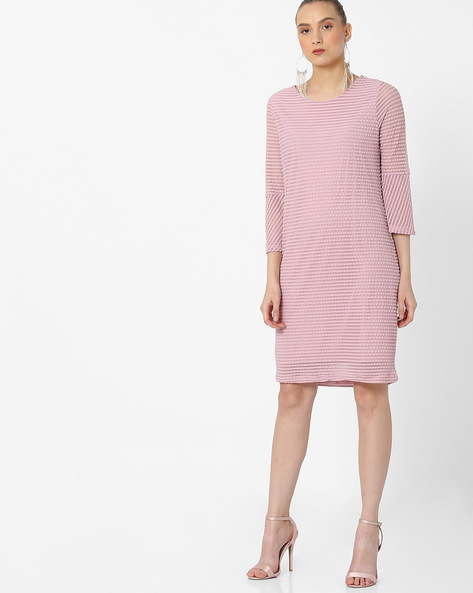 Striped Shift Dress With Flared Sleeves By FIG ( Pink )