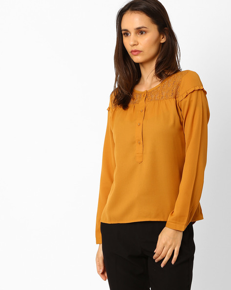 Top With Lace Yoke By Wills Lifestyle ( Orange )