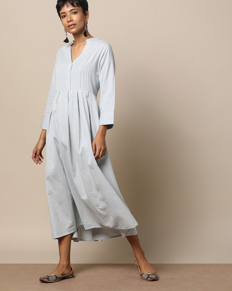 Pleated Cotton Dress With Front Placket By Seasons ( Skyblue )