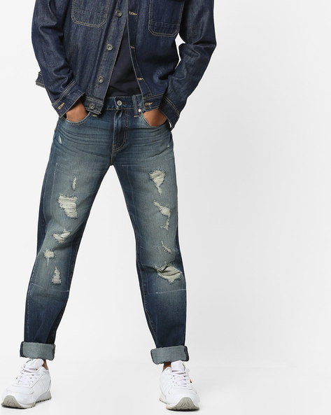 511 Red Tab Distressed Slim Fit Jeans By LEVIS ( Blue )