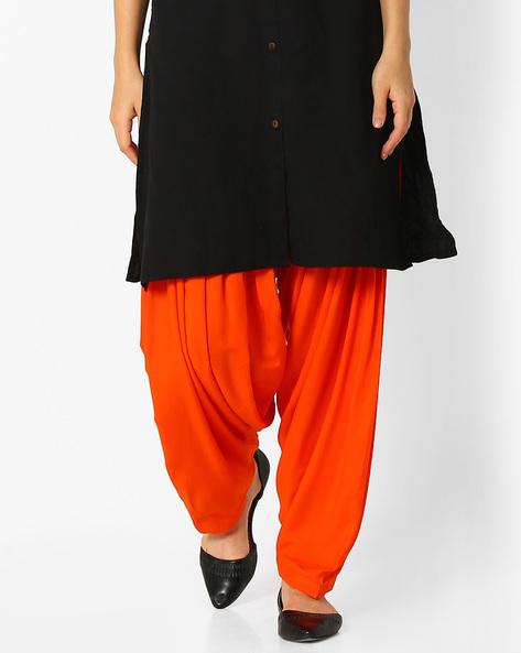 Cotton Patiala Pants With Crisp Pleats By Stylenmart ( Orange )