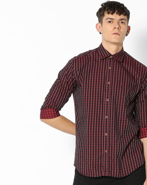 Checked Slim Fit Shirt With Patch Pocket By British Club ( Red )