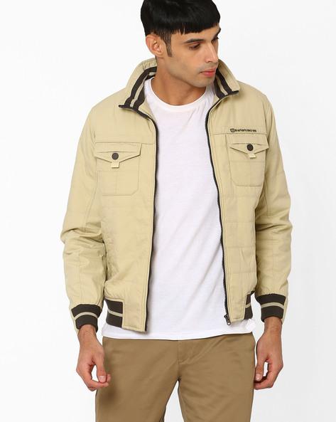 Regular Fit Zip-Front Jacket By DUKE ( Brown )