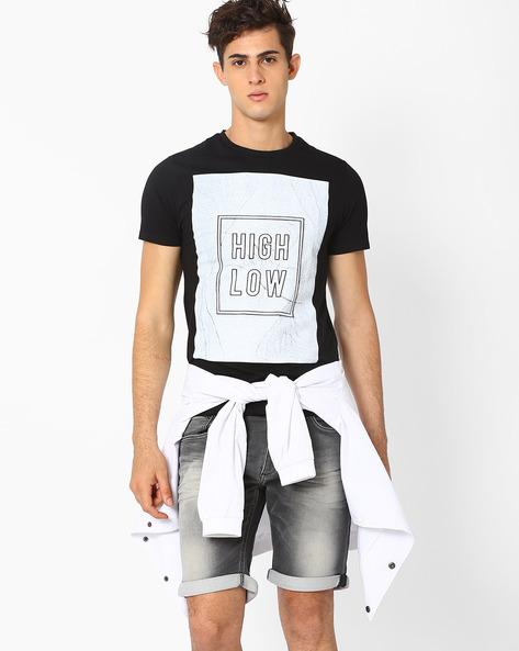 Graphic Print Slim T-shirt By AJIO ( Darkgrey )