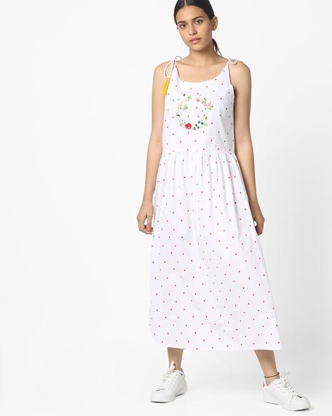 Polka-Dot Fit & Flare Dress By AJIO ( White )