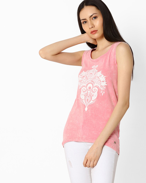 Printed Sleeveless T-shirt By Pepe Jeans ( Pink )