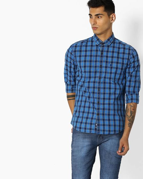 Checked Shirt With Curved Hem By NETPLAY ( Blue )