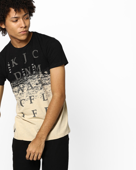Crew-Neck Graphic Print T-shirt By Killer ( Black )