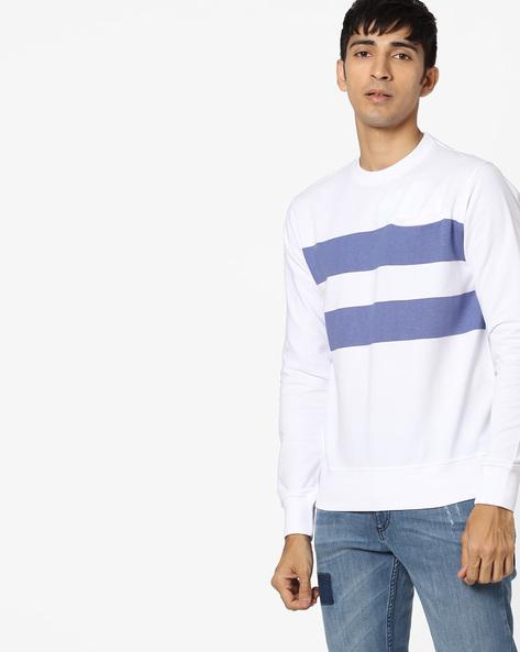 Striped Crew-Neck Sweatshirt By Blue Saint ( White )