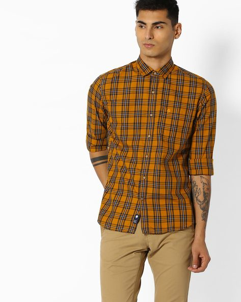 Checked Shirt With Curved Hem By NETPLAY ( Yellow ) - 440774012006