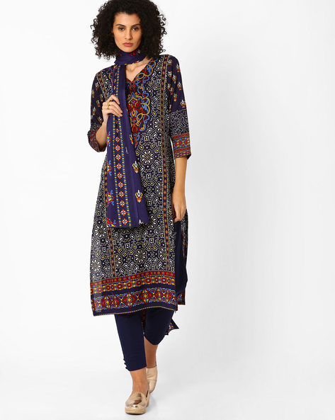 Printed Kurta With Pants And Dupatta By Uptowngaleria ( Blue )