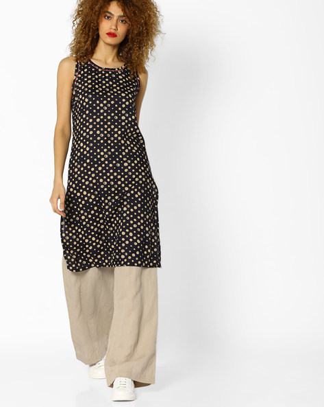 Polka-Dot Print Sleeveless Kurta By AJIO ( Grey )
