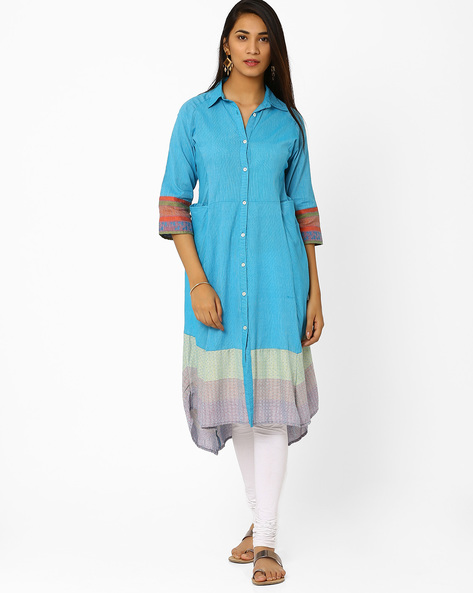 Kurta With High-Low Hem By Biba ( Turquoise )