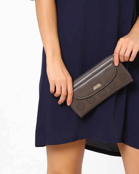 Printed Zip-Around Wallet By Lavie ( Grey )