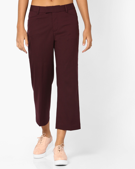 Flat-Front Cropped Trousers By CODE By Lifestyle ( Wine )