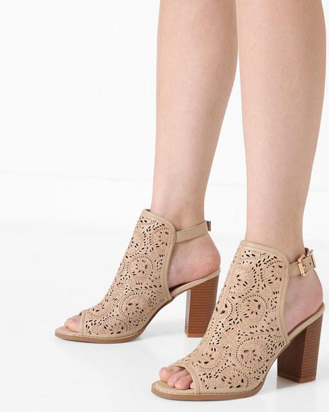 Block Heels With Embellishments By AJIO ( Beige )