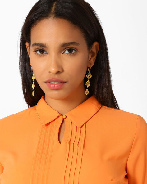 Matte Gold-Plated Filigree Dangler Earrings By AJIO ( Gold )