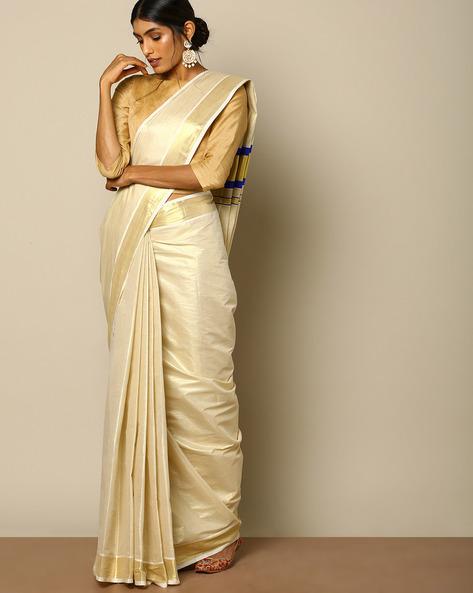 Kerala Kasavu Tissue Saree With Mina Pallu By Indie Picks ( Offwhite ) - 460107941001