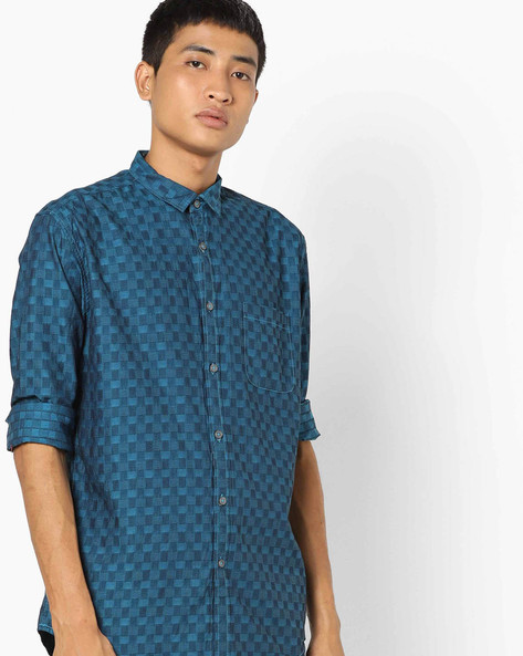 Checked Shirt With Patch Pocket By British Club ( Blue )