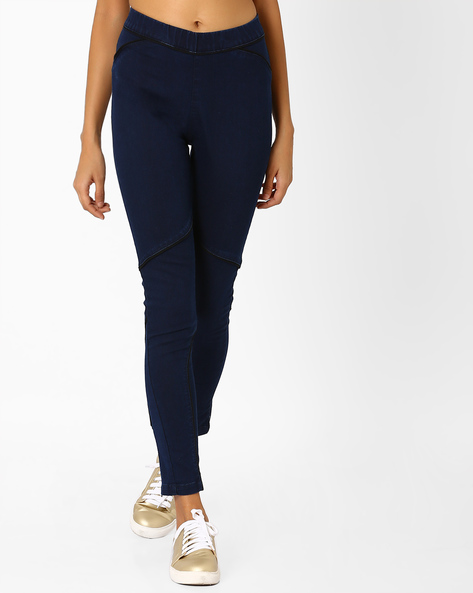 Panelled Jeggings With Elasticated Waistband By AJIO ( Blue )