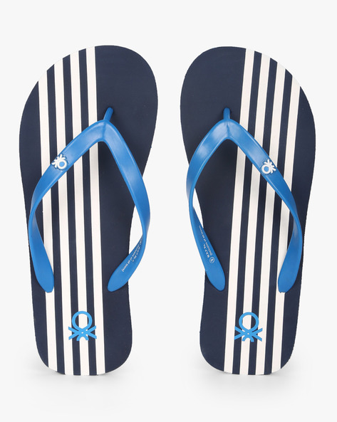 Thong-Strap Flip-Flops By UNITED COLORS OF BENETTON ( Navy )