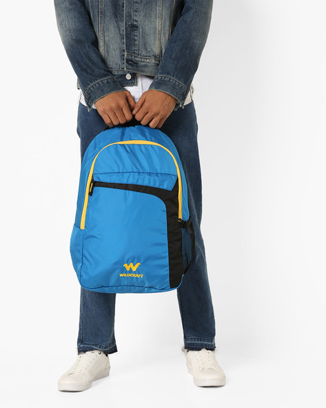 Textured Backpack With Adjustable Shoulder Straps By Wildcraft ( Blue )