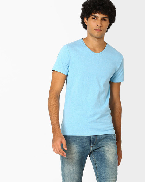 V-neck Slim Fit T-shirt By Jack & Jones ( Seablue )