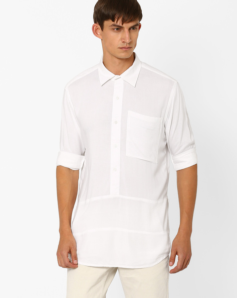 Cut & Sew Artist Shirt By ANTIFERRO ( White )