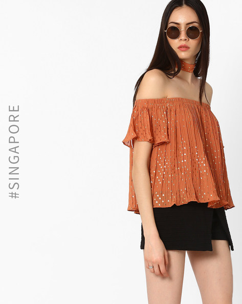 Off-Shoulder Crushed Top By MDS ( Brown )