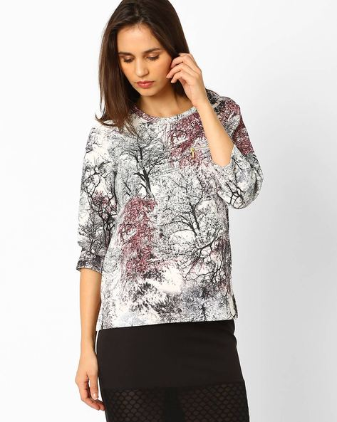 Printed Top With Raglan Sleeves By Wills Lifestyle ( Red )