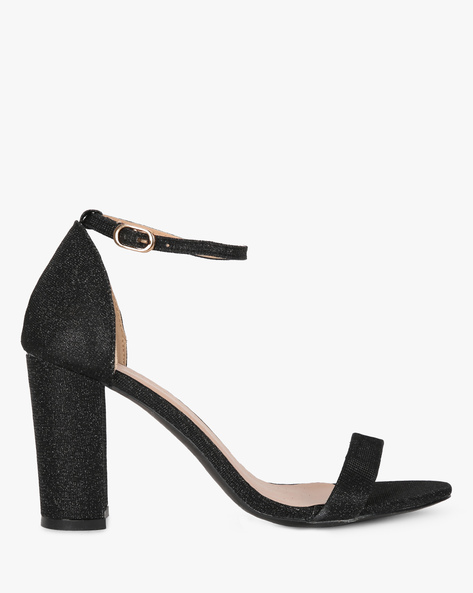 Black Heeled Sandals With Ankle Strap By Project Eve ( Black )