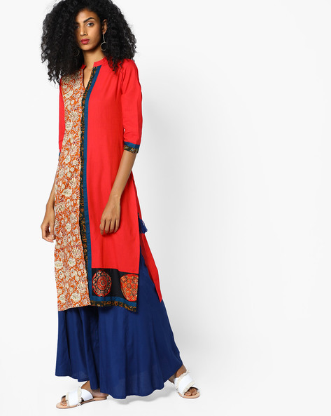 Placement Print Straight Kurta With Mandarin Collar By SOCH ( Red )