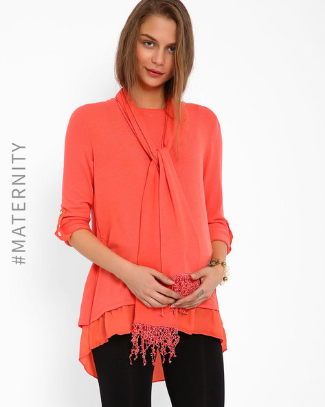 Layered Top With Envelope Back By AJIO ( Coral )