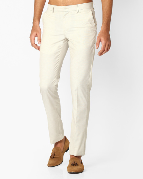 Slim Fit Linen Trousers By NETWORK ( Cream )