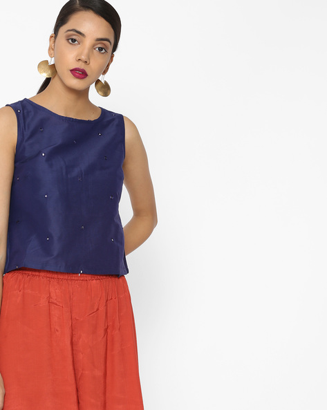 Sleeveless Top With Mirror Work By Akkriti By Pantaloons ( Blue )