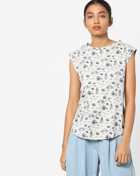 Printed T-shirt With Cap Sleeves By Pepe Jeans ( Grey )
