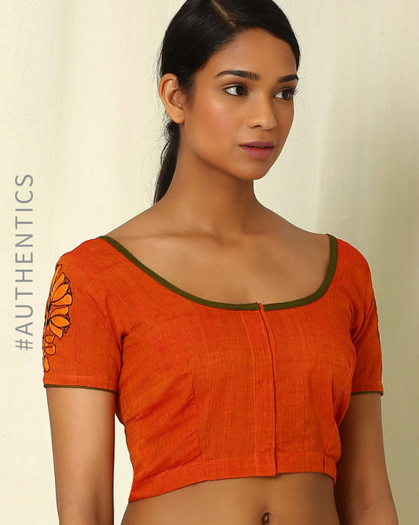 Mangalgiri Hand-Embroidered Cotton Blouse By Indie Picks ( Grey )