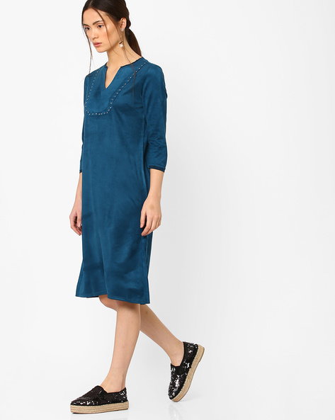 Shift Dress With Metallic Studs By AJIO ( Blue )