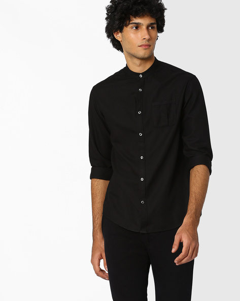 Regular Fit Shirt With Patch Pocket By Celio ( Black )