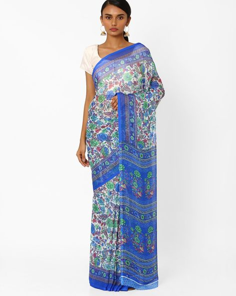 Floral Print Saree With Contrast Border By Akoya ( Blue )
