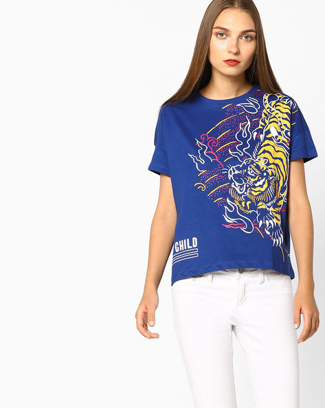 Tiger Print Crew-Neck T-shirt By AJIO ( Blue )