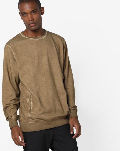 Crew-Neck Sweatshirt By AJIO ( Khaki )