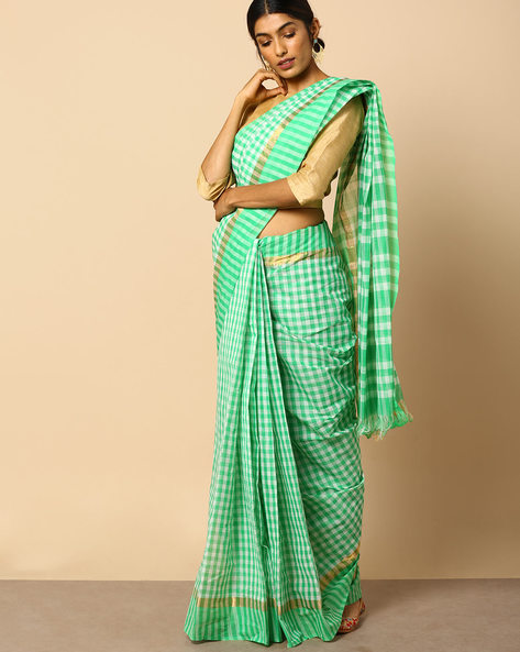 South Cotton Checked Saree With Zari Border By Indie Picks ( Green ) - 460104828001