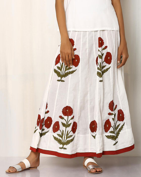 Handblock Print Cotton Long Skirt By Pink Lemon ( White ) - 460016550001